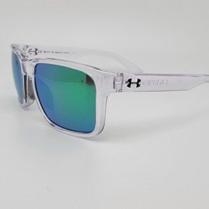 Under Armour Assist Crystal Clear Frame Green Mirror Lens Sunglasses 56-18-136